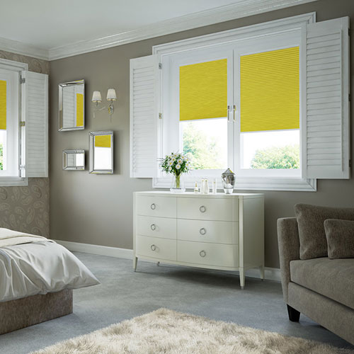 White blackout shutters with pleated blinds